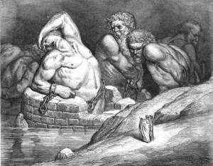 I Giganti, illustrazione Gustave Dorè, Divina commedia, Inferno, canto XXXI