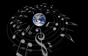 "Esiste una ""Sinfonia Mentale""? Image sources: musical notes, ClipArt Best; earth, NASA"